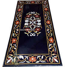 4'x2' Black Marble Inlay Pietradura Dining Table Tops Marquetry Furniture Decor