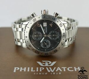 Philip Admiral Automatic Chronograph St. Steel Watch w/Box & Manual 8243981025