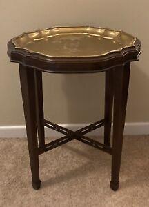 Ethan Allen Georgian Court Side Butler's Table Brass Top