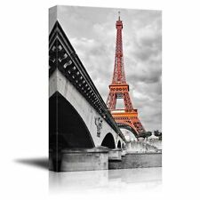 Pop of Color the Eiffel Tower in Paris - Canvas Art Home Decor - 12x18 inches