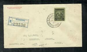 BARBADOS COVER (P1304B) 1937  SEA HORSE  1/- REG  COVER TO  CANADA