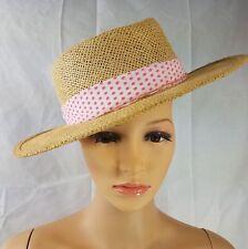 Vintage Straw Hat Panama Natural Color Wide Brim Polka Dot Band Womens 7- 7 1/8