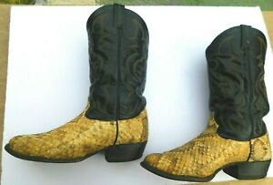 TONY LAMA Vintage Brown SNAKE SKIN Exotic & Leather Cowboy Boots MEN 12 D