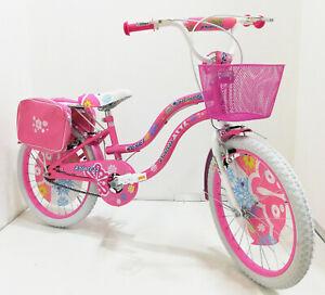 """BICICLETTA 20"""" RAGAZZA BAMBINA BICI MTB CITY ROSA BIANCA MOUNTAIN BIKE CITY GIRL"""