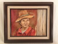 Retro Framed Farm Barn Signed Oil Painting Figural Boy Young Man Vintage