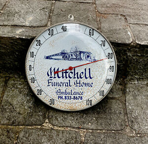 Vtg Funeral Home Ambulance Advertising Round Thermometer Sign Gas Oil Garage🔥