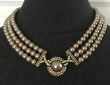 Heidi Daus Fabulous 3 Strand Couture Faux Champagne Pearl Rhinestone Necklace