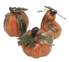 Set of 3 Ceramic Mini Pumpkins Glossy Figurines burton+BURTON Fall Autumn Decor