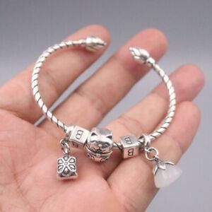 Real 925 Silver Bracelet For Women Hetian Jade Lotus Cat Bangle 55-60mmDia