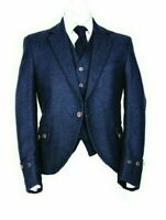Men's New Argyle Blue Wool Kilt Jacket With Waistcoat/Vest All Sizes Custom