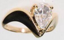 14K Yellow Gold 1 CT Pear Cut Cubic Zirconia Solitaire Unique Estate Ring
