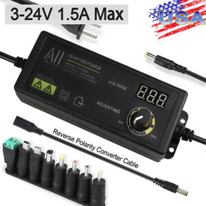 Adjustable Voltage 3 to 24V AC /DC Switch Power Supply Adapter with LED Display
