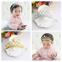 Haarband Krone Diadem Baby Glitzer Mädchen Stirnband Kopfband Stoff Haarschmuck