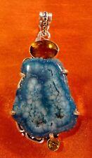 Colgante Grande Piedras Naturales Cuarzo Solar Azul y Plata 925.