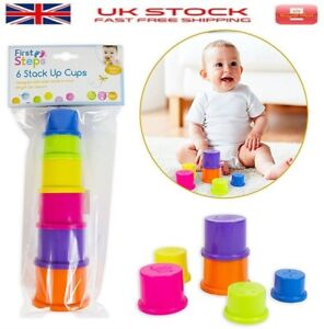 New 6 Stacking Leaning Cups Baby Toy Perfect Gift  ideal 6 Months+