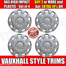 """15 """"VAUXHALL ASTRA CORSA COMBO COPRICERCHI HUBCAPS X 4 SILVER Vauxhall STYLE NEW"""
