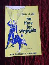 NO TIME FOR SERGEANTS - PROGRAMME- HER MAJESTY'S THEATRE LONDON -BARRY NELSON