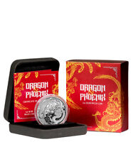 2018-P Australia 1 oz Silver Dragon & Phoenix $1 Coin GEM Proof OGP SKU54005