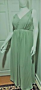 Azazie Light Green Sz 10 Lined Chiffon Long Gown Halter String Top