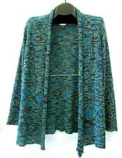 Chicos cardigan sweater M 8 blue green texture open front long sleeve draped top