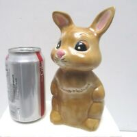 """Vintage Easter Bunny Rabbit Handpainted Ceramic 1980s About 7.25"""" Tall"""