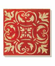 CounterArt Decorative Absorbent Coasters Square Spanish Tiles Red Set of 4