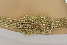 New Women Gold Mesh Braided Metal Fashion Belt Hip High Waist M L XL Plus Size