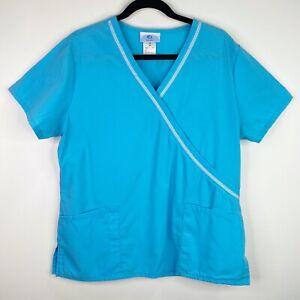 SB Scrubs 960 Mock Wrap Turquoise Scrub Top Shirt Size Medium