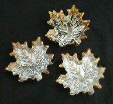 Set of 3 Simon Designs Fine Glass Amber Shimmer Maple Leaf Paperweights