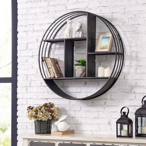 Circular Shelf Brody Industrial Wall Mounted Crafted Metallic Gray 27.5 in.