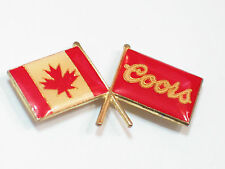 Coors Canada Division Crossed Flags Beer Pin , Lapel Pin , *(*)
