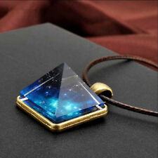 AL_ Cool Glow In The Dark Starry Sky Pyramid Pendant Necklace Jewelry Gift Adroi