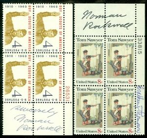 EDW1949SELL : AUTOGRAPHS 2 Plate Blocks both Signed by Norman Rockwell.