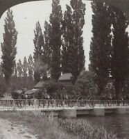WW1 Stereoview. A Battery of Royal Field Artillery Cross A Bridge at Eventide