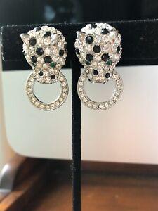 vintage Kenneth Jay Lane KJL Nina Ricci panther Rhinstone Earrings Door knocker