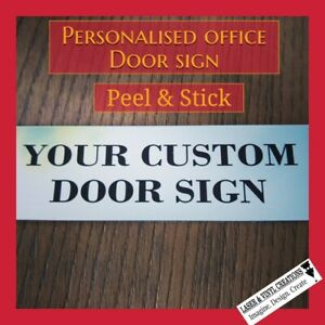 PERSONALISED OFFICE NAME PLATE ADHESIVE  HOME OFFICE 100MM X 70MM