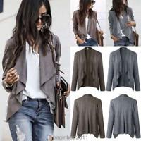 Women's Long Sleeve Waterfall Cardigan Blazer Coats Asym Open Front Suede Jacket