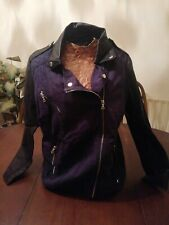 Size 12 Blue Canvas With Pvc Sleeves Zip Up Front Motorcycle Style Jacket By F&F