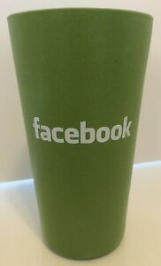 "Facebook Tumblr Cup Thick Plastic/Composite Green Collectible 16oz 6"" HTF RARE"