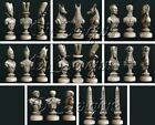 8 Pcs 3D STL Models Chess Game Egyptian's Set for CNC Router Aspire 3D Printer