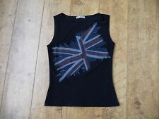 Women's Union Jack black Sleevless Top Size Small