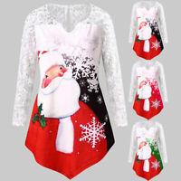 Women Christmas Santa Claus Print Lace Splicing Tunic Long Sleeve Tops Blouse
