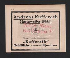 MARIAWEILER, Werbung 1929, Andreas Kufferath Metalltücher