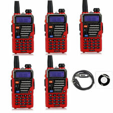 5x Baofeng UV-5R Plus Qualette Red New Version VHF/UHF Two-way Radio + Earpiece