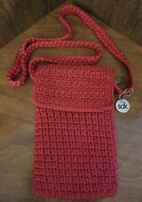 NWOT The sak Crocheted Small Cross Body Red Shoulder Bag Purse with Flap
