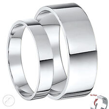 18ct White Gold His & Hers Flat Wedding Rings 4 & 6mm Couple Rings