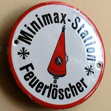 MINIMAX Altes Emailschild Bad Urach um 1955 TOP Feuerlöscher Feuerwehr Spitztüte