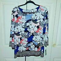 New with Tags Women's JM Collection 3/4 Sleeve Jacquard Top Size XL