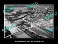 OLD POSTCARD SIZE PHOTO NORTHPORT ALABAMA, AERIAL VIEW OF THE TOWN c1940