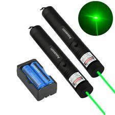 2Pcs Super Strong Green Laser Pointer 532nm Assassin Lazer Pen Beam+Battery Set